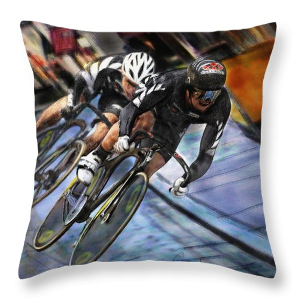 Bikers Throw Pillow by Robert Smith