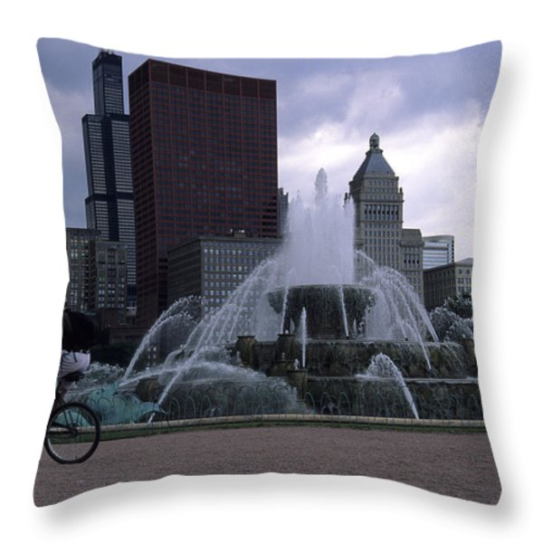 Bikers Tour Around Chicago Throw Pillow by Stacy Gold