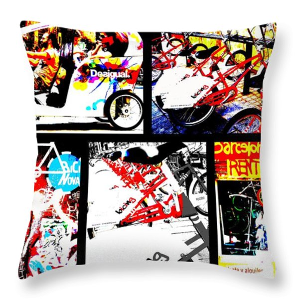 Biking in Barcelona Throw Pillow by Funkpix Photo Hunter