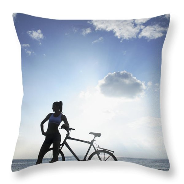 Biking Silhouette Throw Pillow by Brandon Tabiolo - Printscapes