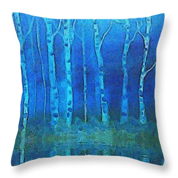 Birches In Moonlight Throw Pillow by Holly Martinson