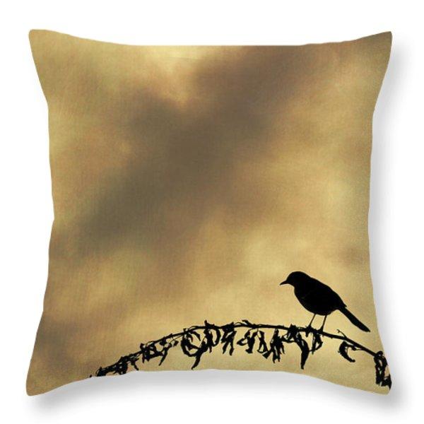 Bird On Branch Montage Throw Pillow by Dave Gordon