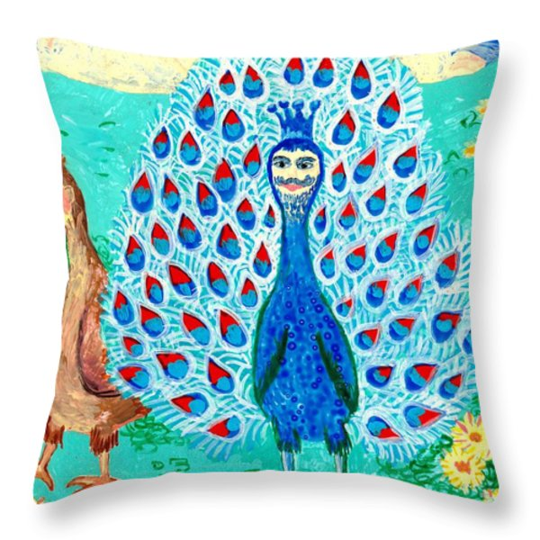 Bird people Peacock king and peahen Throw Pillow by Sushila Burgess