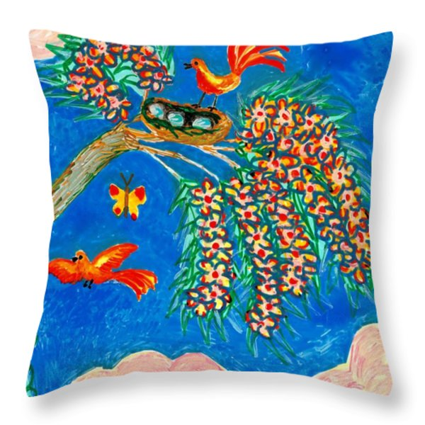 Birds and nest in flowering tree Throw Pillow by Sushila Burgess