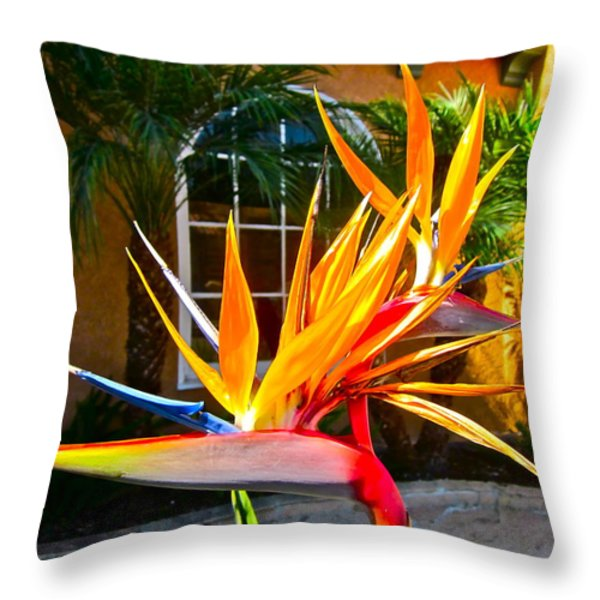 Birds IN paradise Throw Pillow by Gwyn Newcombe