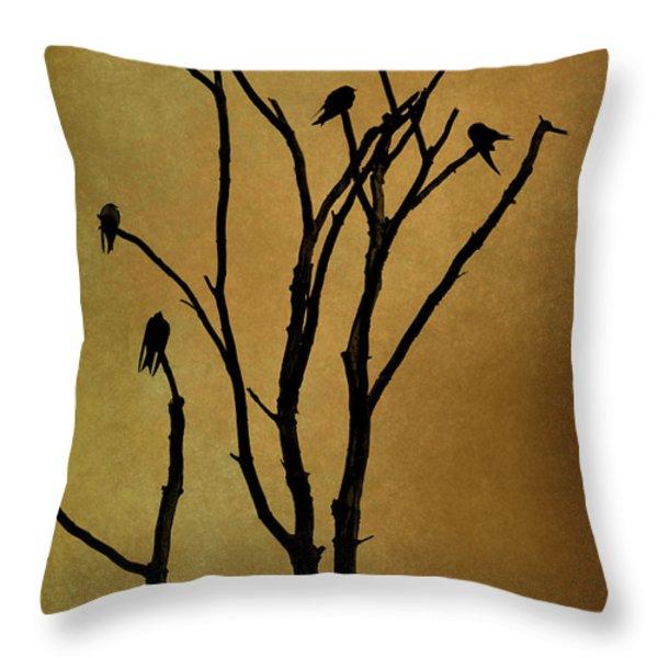 Birds In Tree Throw Pillow by David Gordon