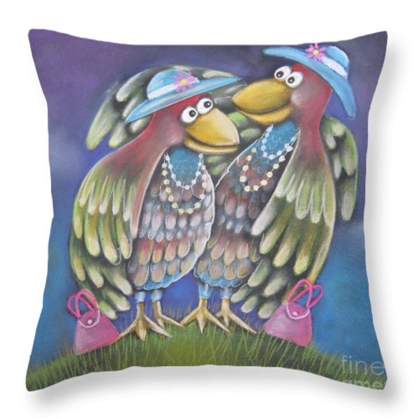 Birds Of A Feather Stick Together Throw Pillow by Caroline Peacock