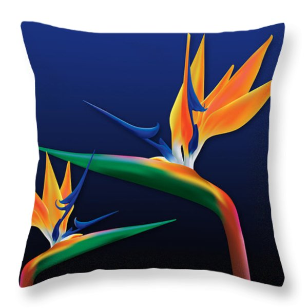 Birds Of Paradise Throw Pillow by Kenneth Johnson