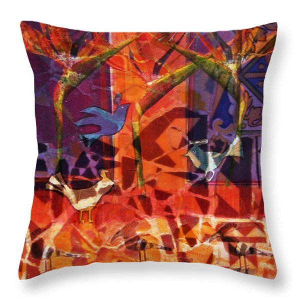 Birds Of Paradise Throw Pillow by Valerie Brown