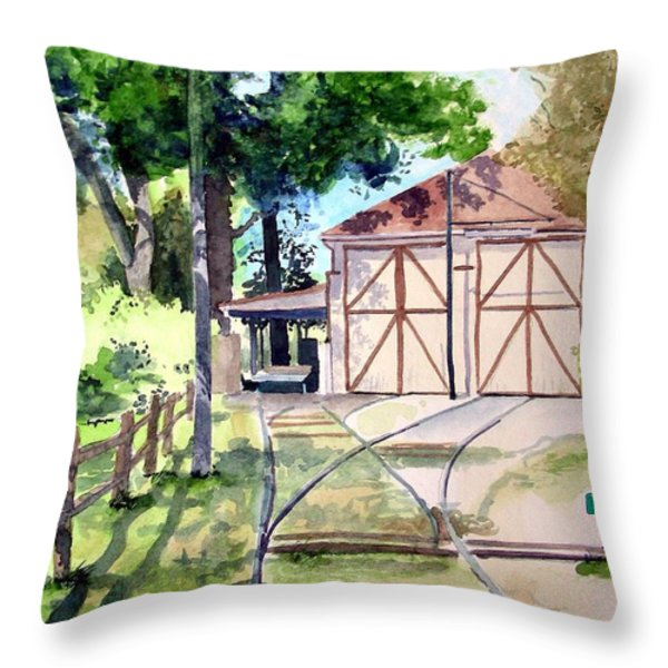Birney Trolley Barn Throw Pillow by Tom Riggs