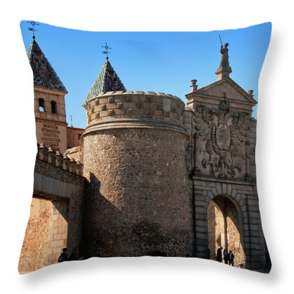 Bisagra Gate Toledo Spain Throw Pillow by Joan Carroll