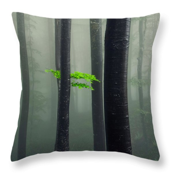 Bit Of Green Throw Pillow by Evgeni Dinev