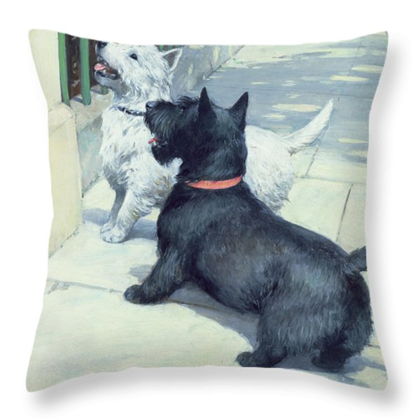 Black And White Dogs Throw Pillow by Septimus Edwin Scott