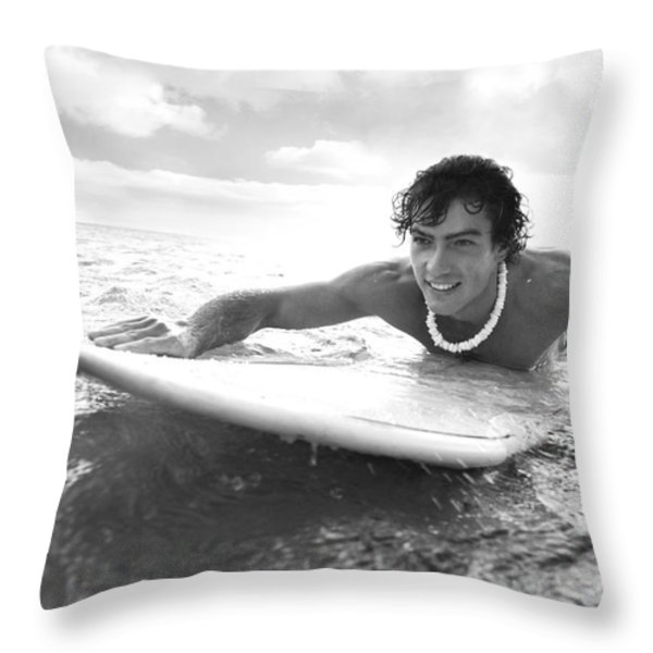 Black And White Sufer Throw Pillow by Brandon Tabiolo - Printscapes