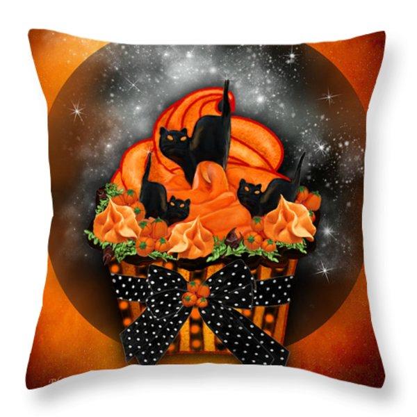 Black Cat Cupcake Throw Pillow by Carol Cavalaris