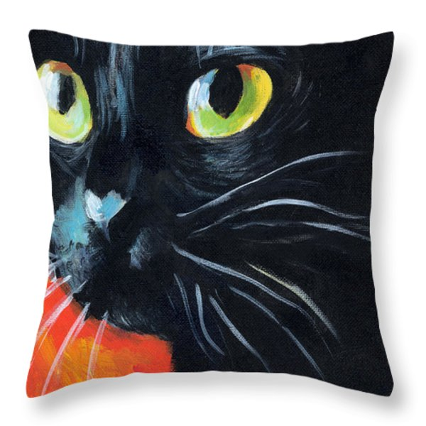 Black Cat Painting Portrait Throw Pillow by Svetlana Novikova