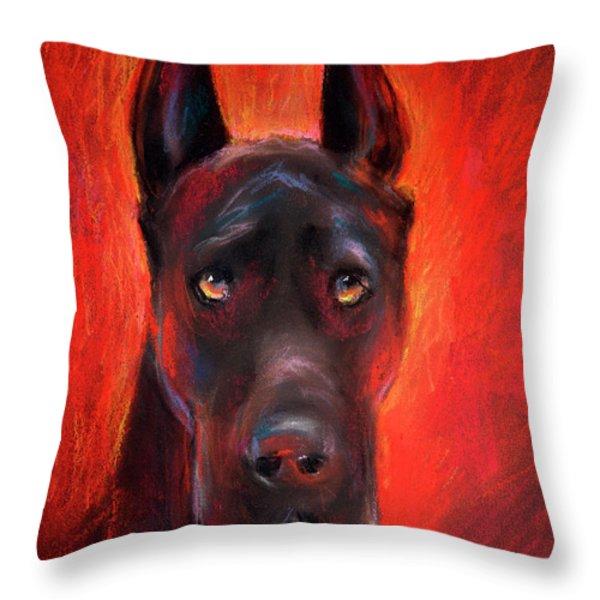 Black Great Dane dog painting Throw Pillow by Svetlana Novikova