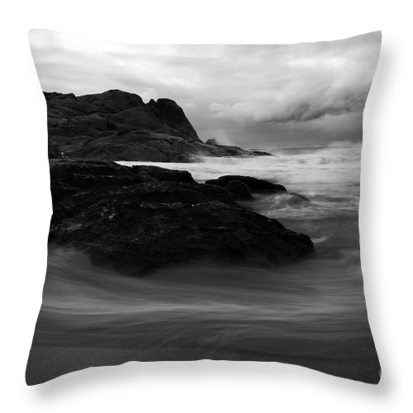 Black Rock  Swirl Throw Pillow by Mike  Dawson