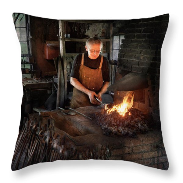 Blacksmith - Blacksmiths like it hot Throw Pillow by Mike Savad