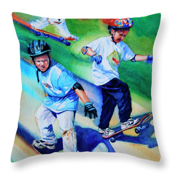 Blasting Boarders Throw Pillow by Hanne Lore Koehler