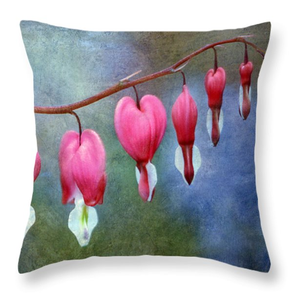 Bleeding Heart 2 Throw Pillow by Marilyn Hunt