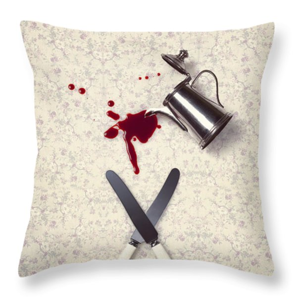 bloody dining table Throw Pillow by Joana Kruse