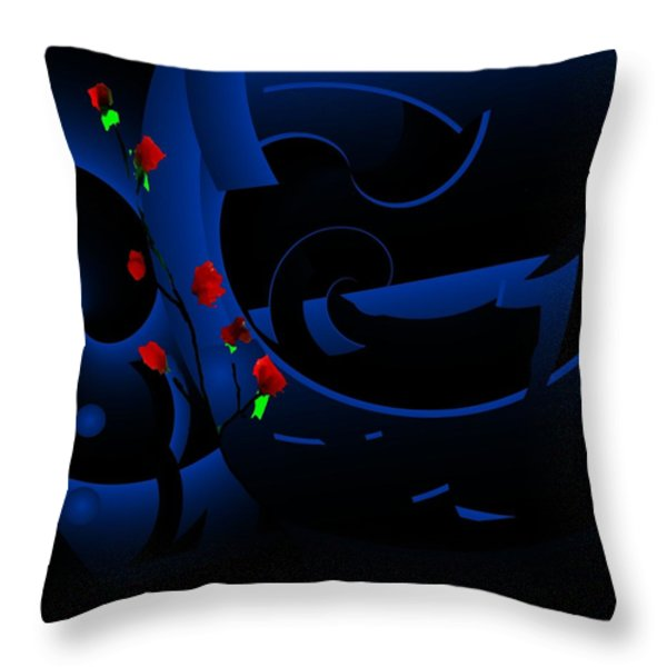Blue Abstract Throw Pillow by David Lane