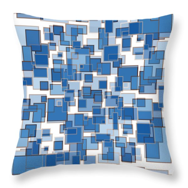 Blue Abstract Patches Throw Pillow by Frank Tschakert