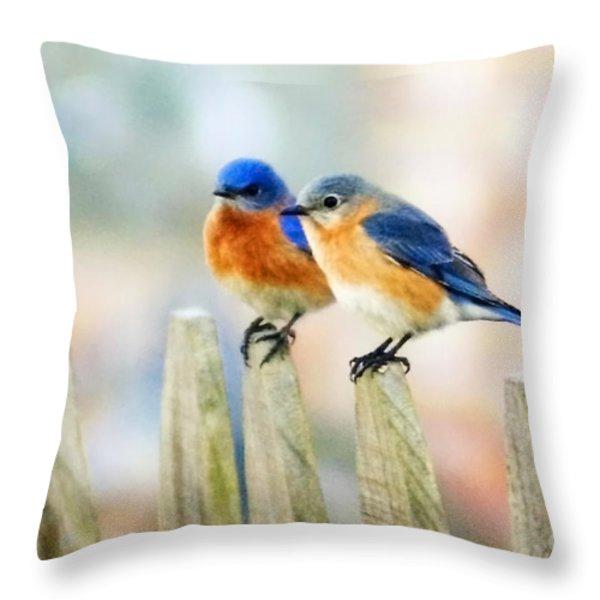 Blue Birds Throw Pillow by Scott Pellegrin