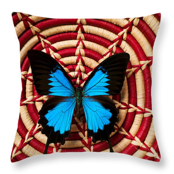Blue Black Butterfly In Basket Throw Pillow by Garry Gay