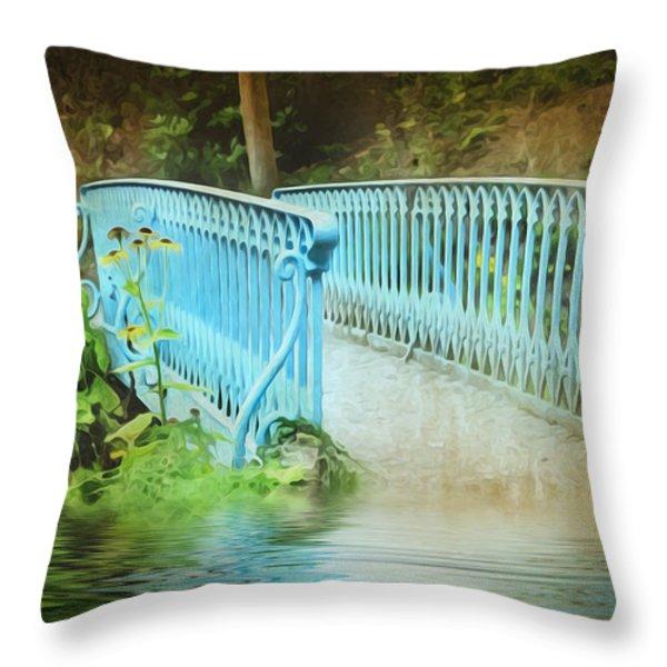 Blue Bridge Throw Pillow by Svetlana Sewell
