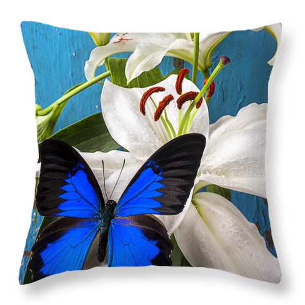Blue Butterfly On White Tiger Lily Throw Pillow by Garry Gay