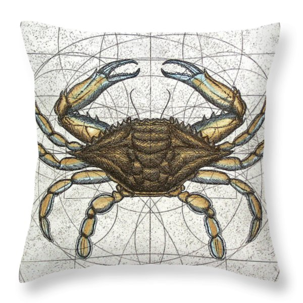 Blue Crab Throw Pillow by Charles Harden