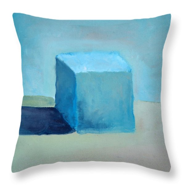 Blue Cube Still Life Throw Pillow by Michelle Calkins