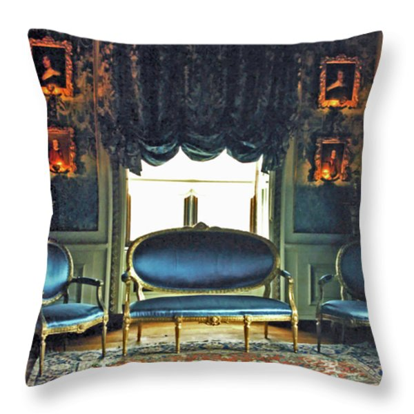 Blue Drawing Room Throw Pillow by DigiArt Diaries by Vicky B Fuller