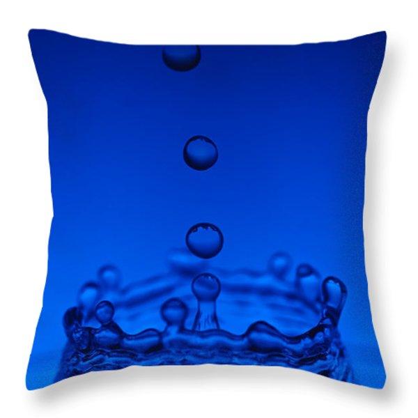 Blue Drop Throw Pillow by Steve Gadomski