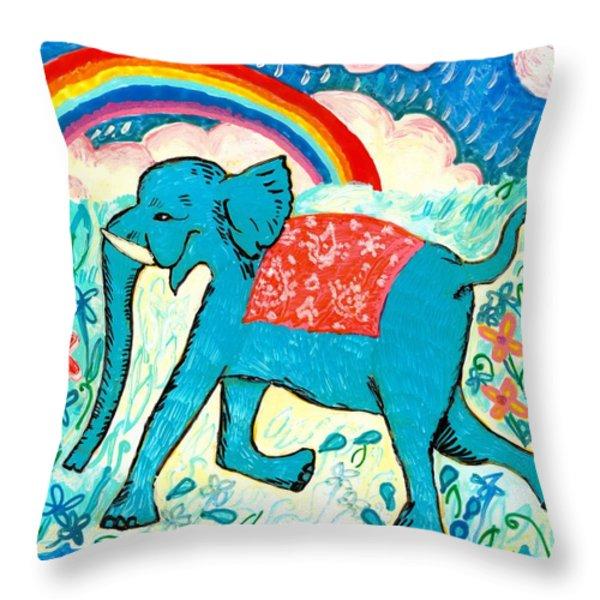 Blue Elephant And Rainbow Throw Pillow by Sushila Burgess