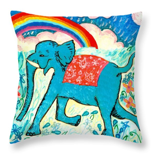 Blue Elephant and Rainbow Throw Pillow by Sushila Burgess