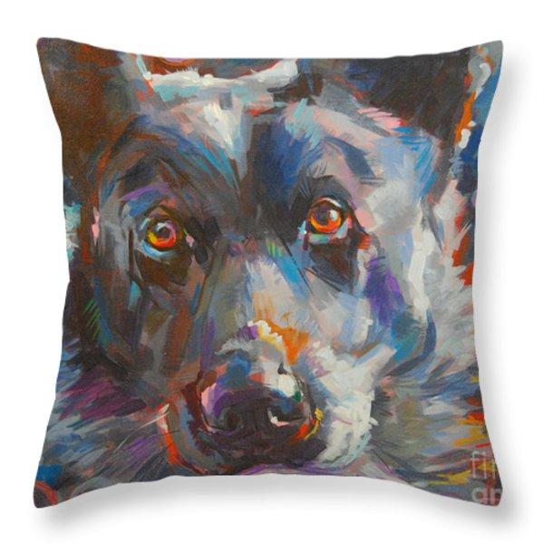 Blue Heeler Throw Pillow by Kimberly Santini