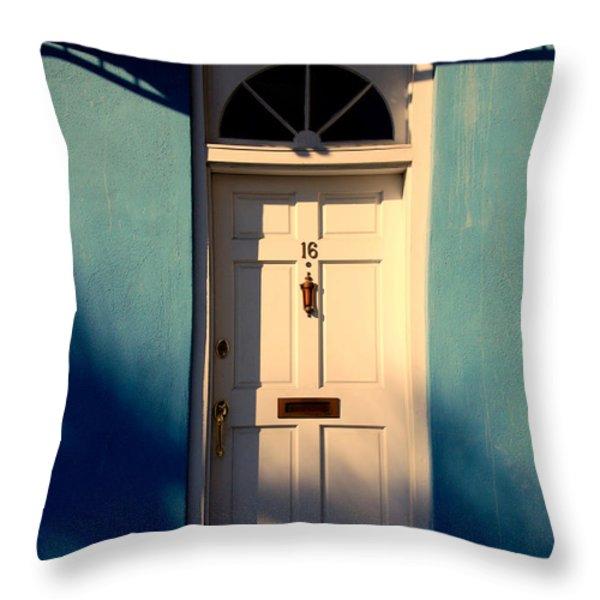 Blue House Door Throw Pillow by Susanne Van Hulst