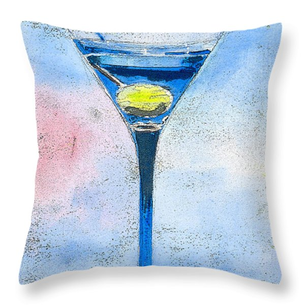 Blue Martini Throw Pillow by Arline Wagner