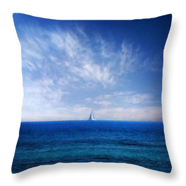 blue mediterranean Throw Pillow by Stylianos Kleanthous