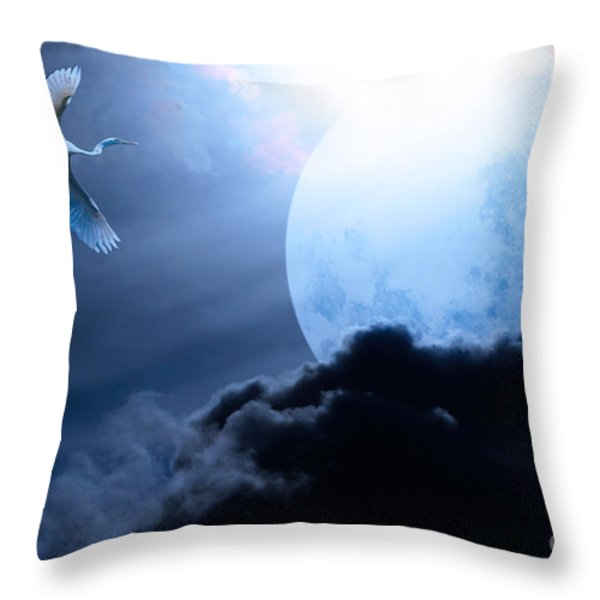 Blue Moon - 7D12372 Throw Pillow by Wingsdomain Art and Photography