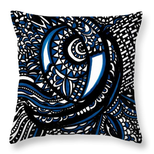 Blue Moon Throw Pillow by WBK