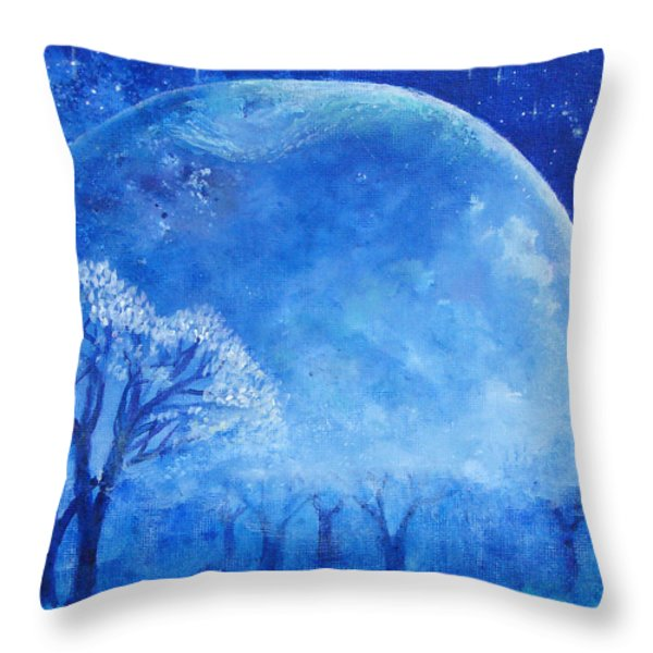 Blue Night Moon Throw Pillow by Ashleigh Dyan Bayer