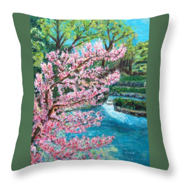 Blue Spring Throw Pillow by Carolyn Donnell