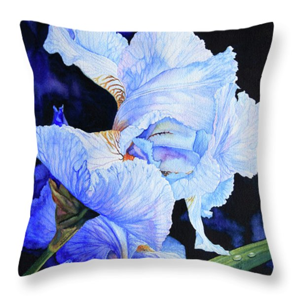 Blue Summer Iris Throw Pillow by Hanne Lore Koehler