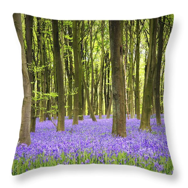 Bluebell carpet Throw Pillow by Jane Rix