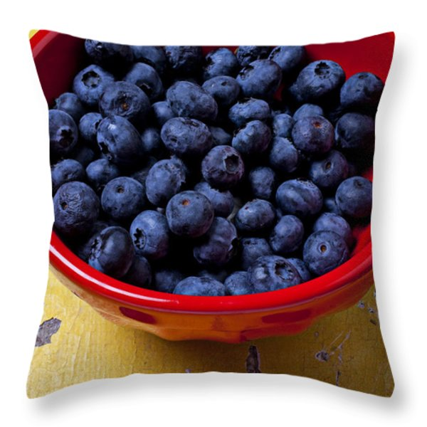 Blueberries in red bowl Throw Pillow by Garry Gay