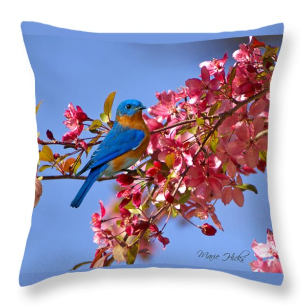 Bluebird In Apple Blossoms Throw Pillow by Marie Hicks